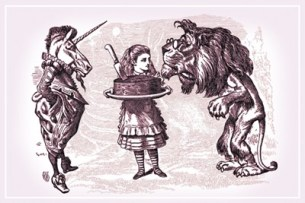 through-the-looking-glass-alice-lion-unicorn-and-cake-by-john-tenniel