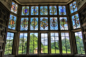 Stained_glass_window,_overlooking_gardens_of_Montacute_House_(4675709559)
